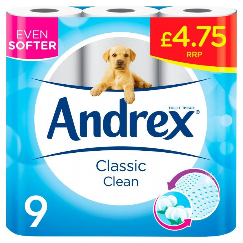 Andrex Classic Clean Toilet Rolls (Pack of 9)